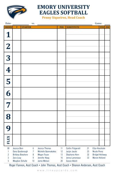 Color college softball lineup card