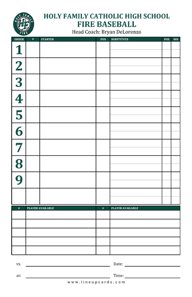 Custom high school baseball team lineup card