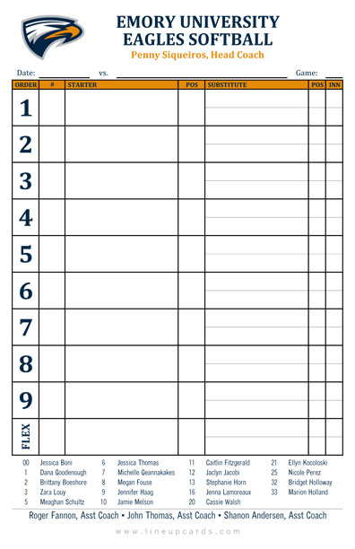 softball lineup card template