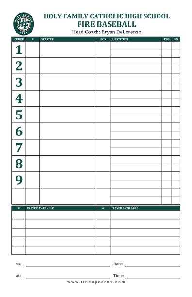 Custom High School Baseball Team Lineup Card