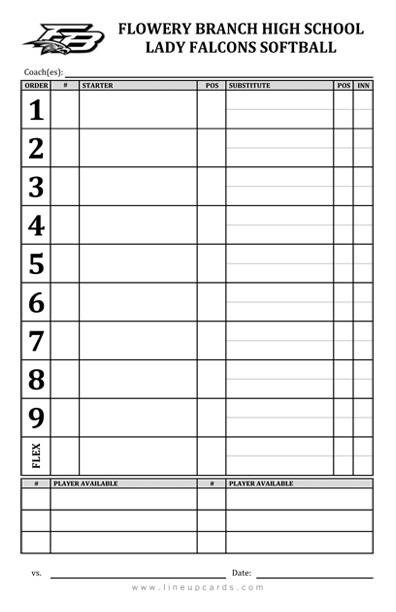 High school softball team lineup card