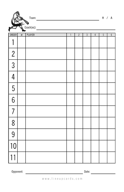 Custom recreational baseball league lineup cards 4 part for Softball scorecard template